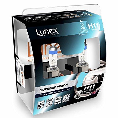 LUNEX H11 SUPREME VISION Ampoules Halogenes Phare Blanche 711 12V 55W PGJ19-2 3700K duobox (2 pièces)