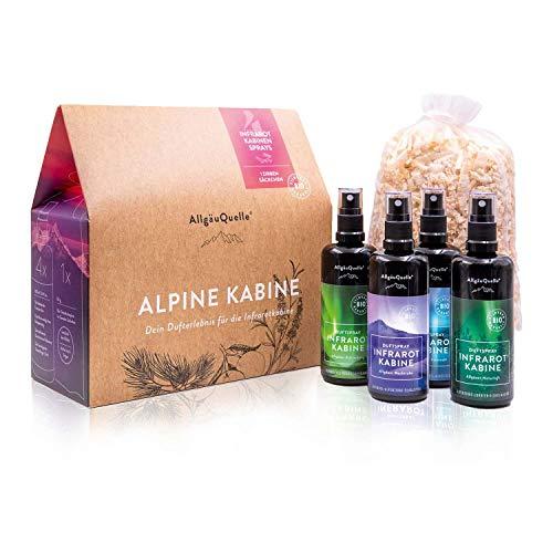 AllgäuQuelle Naturprodukte BIO - Spray per cabine a infrarossi, con 100% oli profumati biologici, con sacchetto di cembro, 400 ml