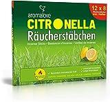 Aromalove Premium Set de 12 Paquetes de palitos de Incienso de Citronela Anti Mosquitos y Anti Avispas para el Exterior Incluyendo un Porta-Incienso Gratis