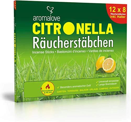 Aromalove Premium Set aus 12 Packungen Citronella Räucherstäbchen für Garten Outdoor...