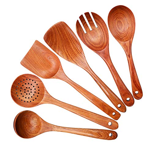Wooden Spoon Spatula for Cooking,Wooden Kitchen Utensil Set,Pear Flower Wood Cooking Spoons and Spatulas 6 Pcs