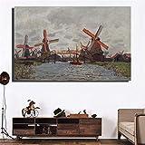 N / A Molino de Viento Paisaje Pintura al óleo sobre Lienzo Arte Pared Imagen Lienzo decoración de la habitación sin Marco 100x70cm