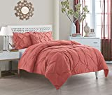 VCNY Home | Carmen Collection | Super Soft Microfiber Comforter, Cozy and Relaxing 4 Piece Bedding Set, Chic and Modern Design for Home Décor, Queen, Coral