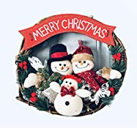 Nature's Nectar メリークリスマスリース – ホームキッチン 壁掛け 雪だるま サンタ 人形 松の葉 装飾オーナメント プラスチック&ラタンパーティー装飾 ドアハンガー 全シーズン対応