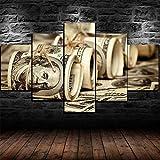 AWER 5 piezas de lienzo de arte de pared,Rollos de dinero de billetes de 100 dólares,Cuadro geométrico Abstracto,HD Imagen Impresiones En Lienzo,decoración de Dormitorio,en un Marco