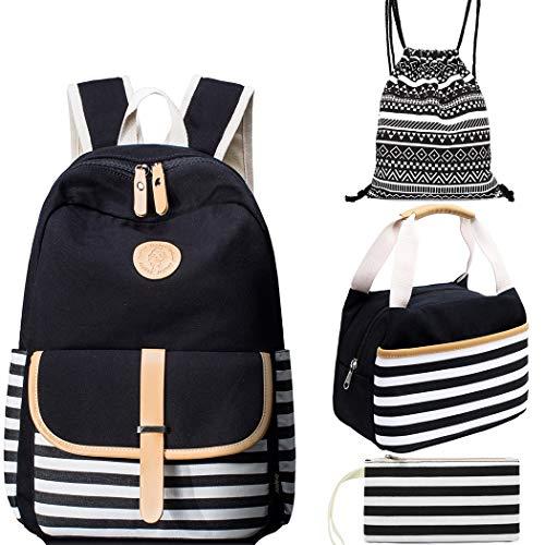 School Backpack Set for Girls Boys Canvas Backpacks Teen Girls
