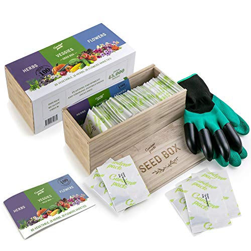 Grow Your Own Seed Box by Garden Pack - 100 Varieties of Flower, Herb, Vegetable Seeds - Natural...