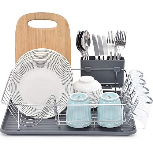 TOOLF Dish Rack, Large Capacity Dish Drainer, Dish Drying Rack with Cutlery Holder, Removable Drip Tray, Cup Holder, Compact Kitchen Drainers for Countertop, Grey