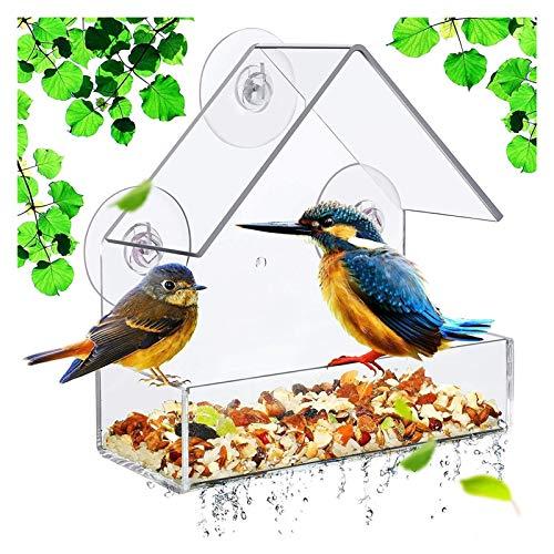Alimentador de aves Ventana de acrílico transparente Alimentador de aves Pájaro salvaje Alimentador de aves Alimentador de aves Colgando Triángulo Colgante de aves Casa de aves que incluyen tazas de s