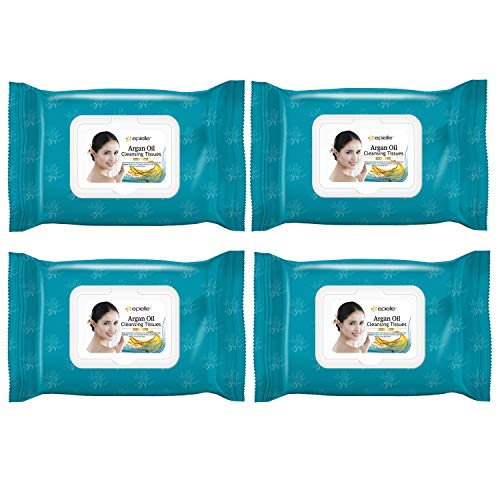 Epielle Argan Oil Cleansing Facial Tissues Makeup Remover Wipes Gentle and Nicely Scented Towelettes - 60 Sheets per pack, 4 pack (new)