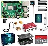 Raspberry Pi 4 Model B 4GB RAM Kit, Raspberry Pi Barebone con 64GB MicroSD Card, Una Ventola, Micro HDMI, Tipo C Alimentatore 5.1V 3A, Lettore di Scheda e Custodia Nera Protettiva (RPI 464)