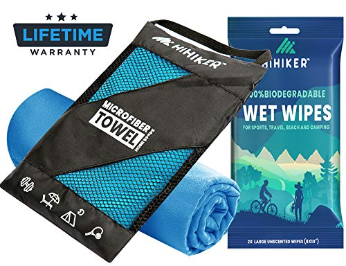 HiHiker Microfiber Camping Towel + Biodegradable Outdoor Wipes - Compact Towel Quick Dry & Lightweight for Gym, Travel, Swimming, Beach and Backpacking (Blue, 30 x 60 inches)