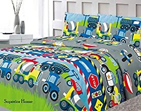 Sapphire Home Three (3) Piece Twin Size Cars Trucks Police Plane Theme Print Sheet Set with Fitted, Flat and 1 Pillow Case, Blue Green Gray Boys Kids Bedding Sheet Set