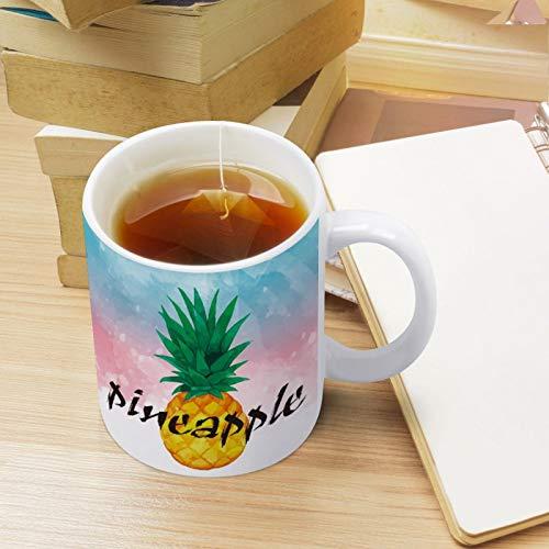 Tazas de café con diseño de piña y frutas para la mañana, de cerámica blanca, taza de té de cerveza, tazas de té para niños, papá, mamá, jefe, Acción de Gracias, regalos de cuarentena de otoño 11 oz