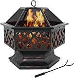Hex-Shaped Fire Pit for Garden 24 Inch Wood Burning Bonfire Firebowl Outdoor