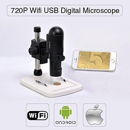 Home Care Wholesale® 720P HD WiFi Microscopio Digital para iOS/Android/PC, Medición en la PC, Enfoque Ajustable y Magnificaciones (hasta 200X), con Pilas, Etapa de Detector Profesional