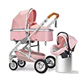 B.CHILDHOOD 2 in 1 Baby Stroller Set Foldable Pushchair Pram Reversible for Infant, Free Car Seat Without Base, Pink