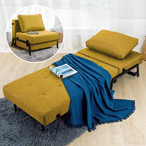 Vonanda Sofa Bed, Sleeper Convertible Chair Multi-Function Guest Bed Modern Breathable Linen Folding Bed with Hidden Legs for Small Room Apartment, Mustard Yellow