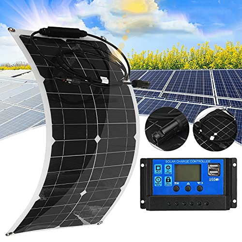CHJAA Kit Cargador de Batería Panel Solar Flexible de 100 W, Panel Solar Fotovoltaico de 25 W, para Vehículos Recreativos, Barcos, Techos, Cabañas, Tiendas de Campaña, Automóviles, Remolques