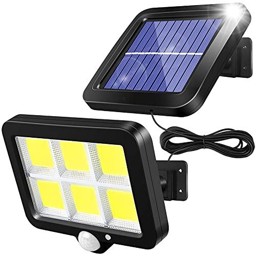 solawill Solarlampen für Außen mit Bewegungsmelder, 120 LED Solarleuchte mit 3 Modi IP65 Wasserdichte 120° Superhelle Solar Lampe Outdoor Led Aussenleuchte Solar Wandleuchte für Garten mit 5 M Kabel