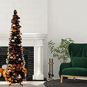 5ft halloween christmas tree collapsible artificial pencil tinsel pop-up trees halloween props halloween decor with stand & spider pumpkin ghost sequins (pumpkin-b) silk flower arrangements