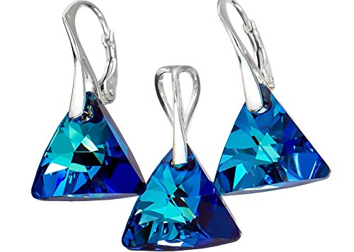 Ohrringe mit Swarovski-Kristallen, Blau