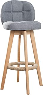 Barstools Chair with Ergonomics Backrest and Hemp Rope Footrest | Linen Fabric Cushion Dining Chairs for Pub/Restaurant Be...