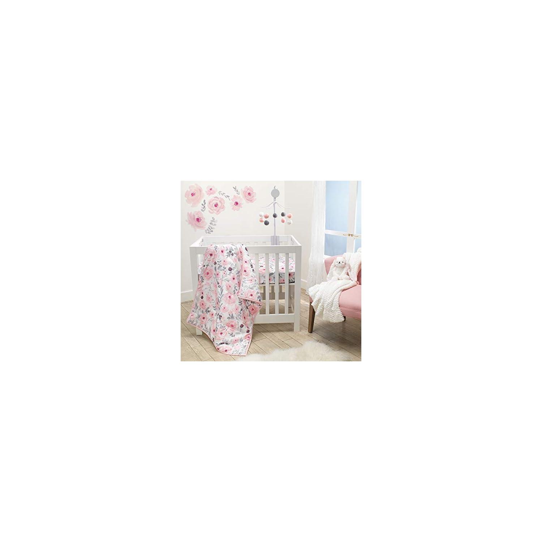 Bedtime Originals Blossom Pink Watercolor Floral 3-Piece Mini Crib Bedding Set