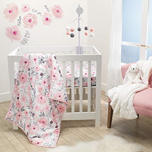 Bedtime Originals Blossom Pink Watercolor Floral 3-Piece Mini Crib Bedding Set