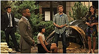 Bones Tamara Taylor with Cast Seated by Trees 8 x 10 inch photo