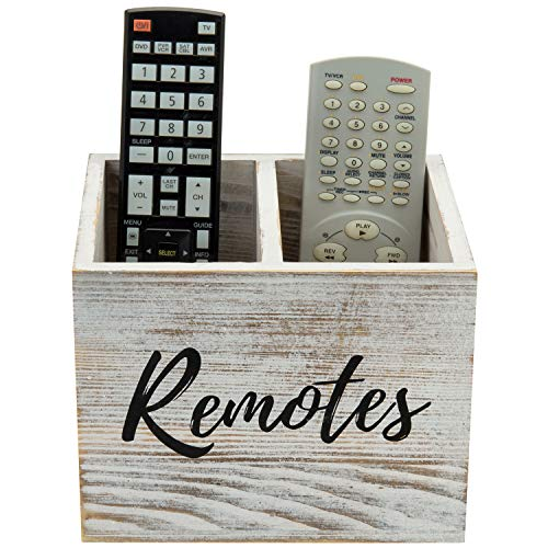 MyGift 2 Slot Shabby Whitewashed Wood Remote Control Holder Caddy/Media Storage Box