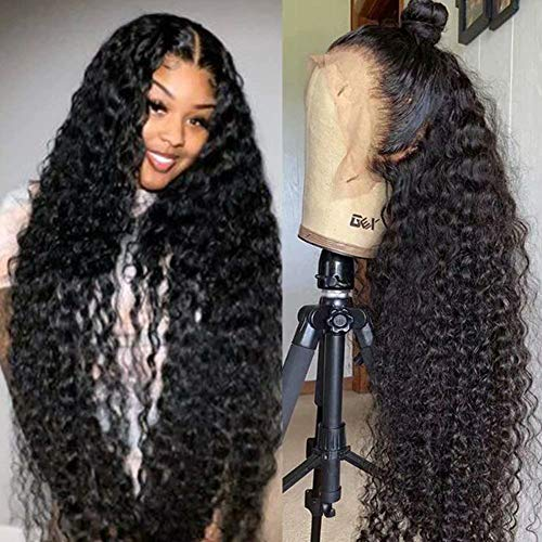 Maxine 360 Lace Frontal Wig Pre Plucked with Baby Hair 26inch Water Wave Lace Front Wigs 150% Density Wet and Wavy Brazilian Human Hair Wigs for Women Natural Black Color Slightly Bleached Knots