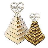 Pralinenständer aus Holz, 7 Etagen, personalisierbar, Herzform, Schokoladen-Süßigkeiten, 3D-Halter, Hochzeitsdekoration
