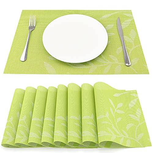 SueH Design Manteles Individuales Juego de 8, Salvamanteles Individuales en PVC para Comedor 45 * 30 CM, Hojas Verdes