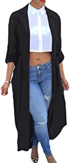 MogogoWomen Cardigan Tops Outwear Chiffon Pure Color Baggy Trench Coat