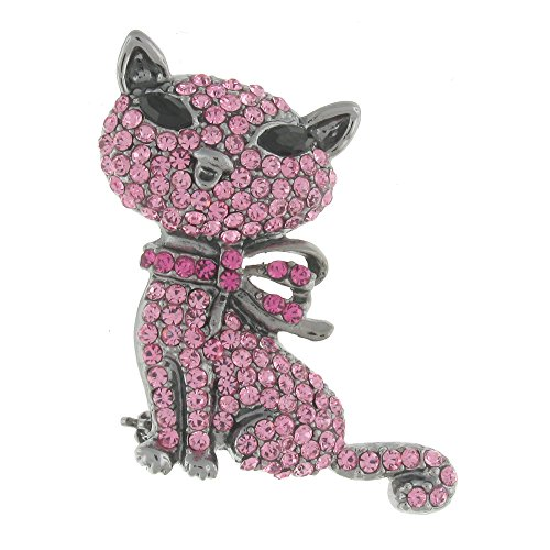 Butler Wilson carino e spilla a forma di gatto rosa