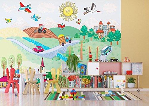 AG Design FTXXL 1476 Landschap papier fotobehang voor kinderkamer, 4 delen, meerkleurig, 360 x 255 cm