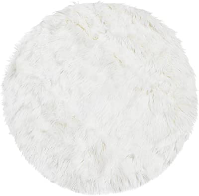 uxcell Faux Sheepskin Area Rug Indoor Soft Fluff Carpet Rugs for Bedroom Floor Sofa Cabinet Living Room 2x2 Feet Round, Snow White