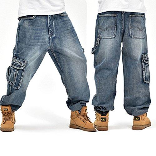 MOMOALA Alamor Allentato Plus Size 30-46 Hip-Hop Uomini di Moda Grandi Dimensioni Jeans Pop Skateboard Pantaloni-36