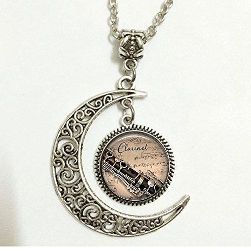 Charm Crescent Moon Klarinette und Musik Anhänger, Klarinette Anhänger Klarinette Halskette, Klarinette, Player Geschenk