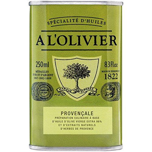 A L'Olivier 1822 - mit Kräutern der Provence aromatisiertes Olivenöl im dekorativen Metalbehälter, 0,25 Liter