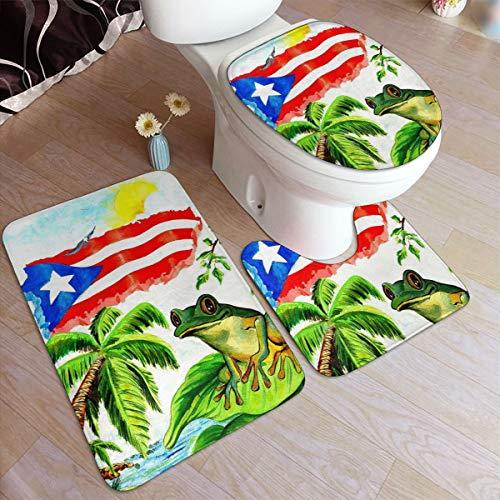NTQFY Good Sleep with Puerto Rico's Frog Bath Rugs Anti-Skid Pads Set 3 Piece Bathroom Mats Durable Toilet Carpet Bath Mat + U Shaped Contour Rug + Toilet Lid Cover