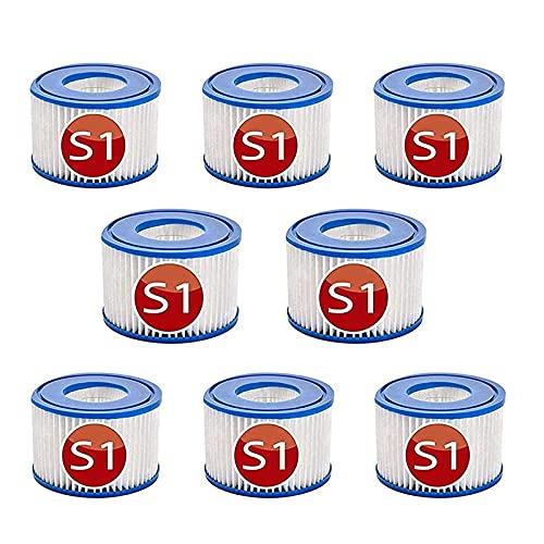 LXTOPN Typ S1 Filter Ersatz-Kartuschen Für Intex 29001E PureSpa,Filterkartusche Typ S1für 11692 Spa Filter,Easy Set Pool Kartuschen,Ersatzfilter für Pool, Spa, Whirlpool, Badewanne (8pcs)