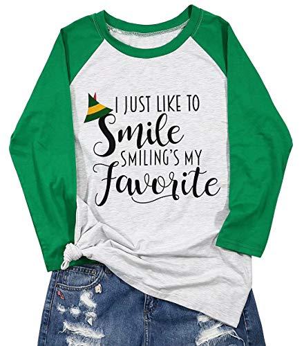 FLOYU I Like to Smile Smiling's My Favorite Shirt Christmas Women Cute Elf Hat Graphic Print Splicing Sleeve Tshirt Green