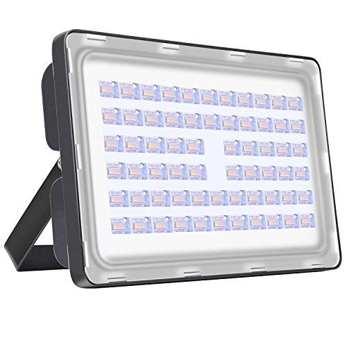 Viugreum® 200W Projecteur LED Extérieur Spot Lumière Puissant 24000 Lumen Eclairage de Sécurité au Sol Chantier Travaux Jardin - Etanche IP65 [6F] - Blanc Chaud (2800-3000K)