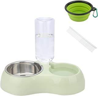 Senzeal ABS Resin Dogs Cats Double Feeder Bowl Stainless Steel Bowl Automatic Water Dispenser Puppy Kitty