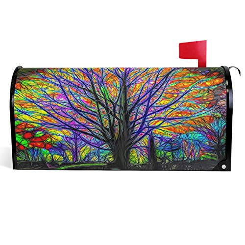 Wamika Rainbow Tree of Life Mailbox Cover Colorful Forest Tree Mailbox Covers Magnetic Mailbox Wraps Post Letter Box Cover Standard Size 18