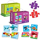 Toddler Puzzles for Kids Ages 2-4 by QUOKKA - 2 x 15 Educational Self-Correcting Matching Games for 3-5 yo - Activities Toy for Learning Animals and Sea Creatures - Gift for Preschool Boy and Girl 1-3