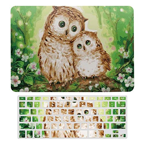 Owl Baby and Mom Plastic Hard Shell Case&Screen Protector with Keyboard Cover for MacBook Air 13