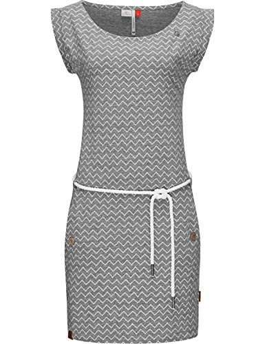 Ragwear Damen Baumwollkleid Jerseykleid Sommerkleid Strandkleid Tag Zig Zag Grau20 Gr. M